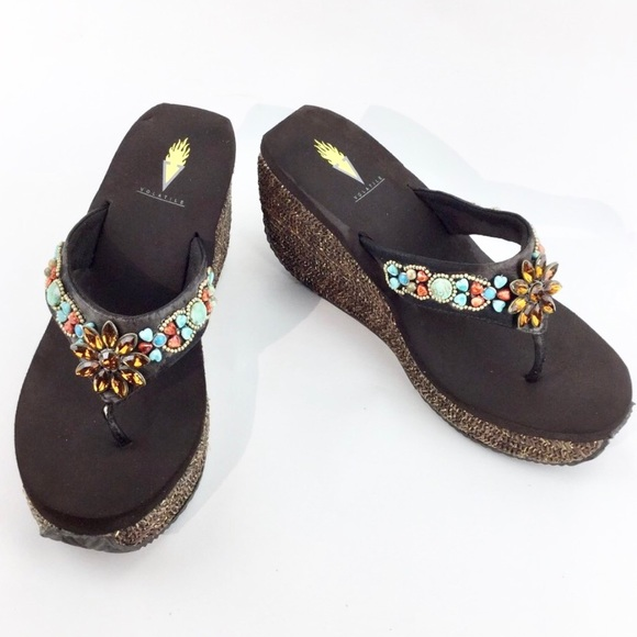 Volatile stone and beaded wedge sandals Size 10